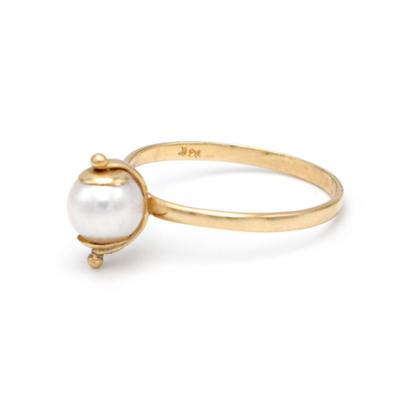 Δαχτυλίδι με μαργαριτάρι Fresh Water σε χρυσό Κ14 - M305994