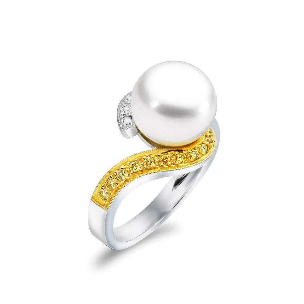 Δαχτυλίδι με μαργαριτάρι και διαμάντια σε λευκόχρυσο Κ18 - M306592 651c544044c