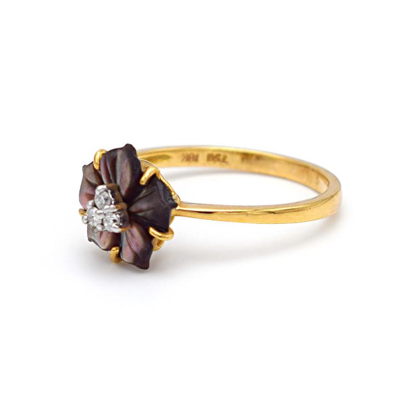 Δαχτυλίδι με μαύρο λουλούδι σε χρυσή βάση Κ18 - M307821