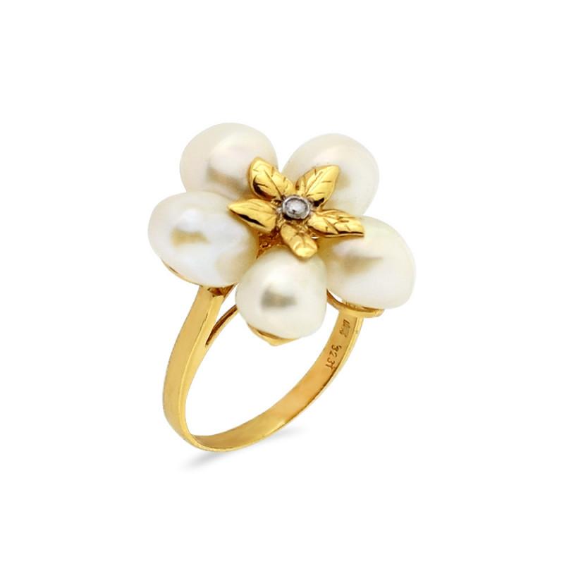Δαχτυλίδι με μαργαριτάρια Fresh Water σε χρυσό Κ14 - G309445