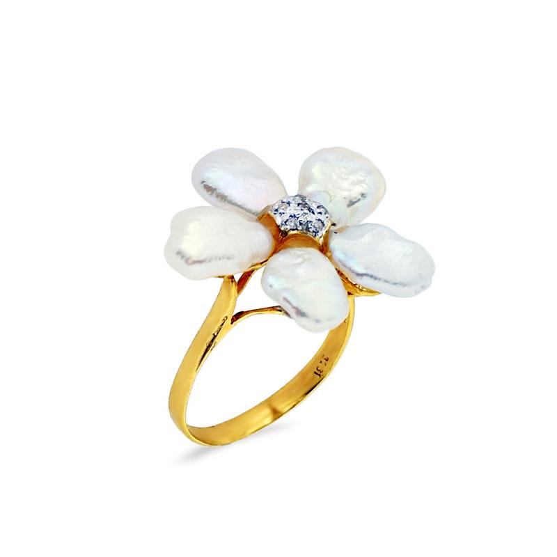 Δαχτυλίδι με μαργαριτάρια Fresh Water σε χρυσό Κ14 - G309446