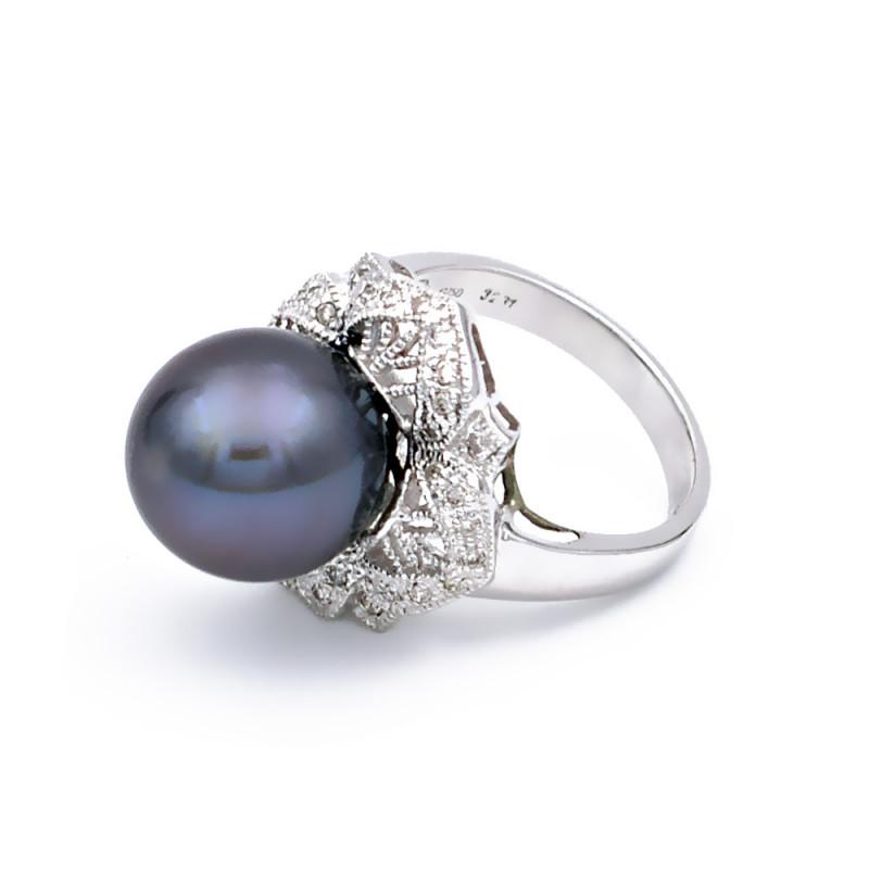 Δαχτυλίδι με μαργαριτάρι South Sea σε λευκόχρυσο Κ18 - M309704