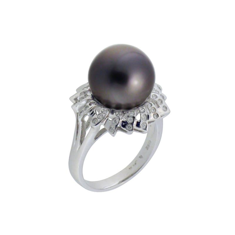 Δαχτυλίδι με μαργαριτάρι και διαμάντια σε λευκόχρυσο Κ18 - M309709