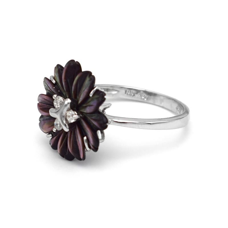 Δαχτυλίδι με μαύρο λουλούδι σε λευκόχρυση βάση Κ18 - M310380