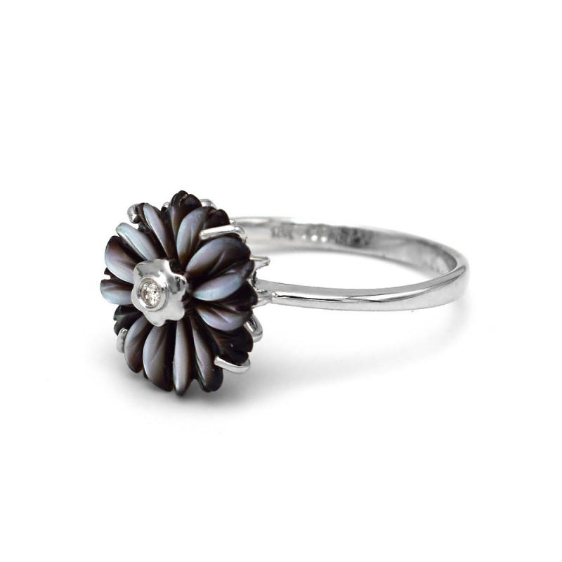 Δαχτυλίδι με μαύρο λουλούδι σε λευκόχρυση βάση Κ18 - M311332