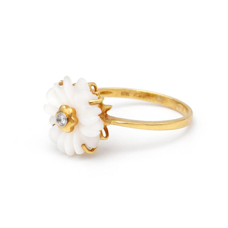 Δαχτυλίδι με λουλούδι σε χρυσή βάση Κ18 - M311372