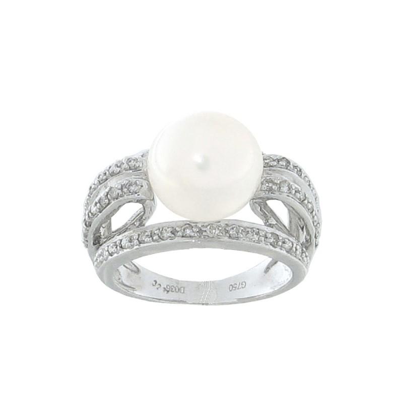 Δαχτυλίδι με μαργαριτάρι και διαμάντια σε λευκόχρυσο Κ18 - W312485