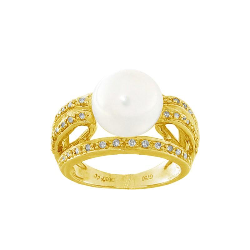 Δαχτυλίδι με μαργαριτάρι και διαμάντια σε χρυσό Κ18 - G312485