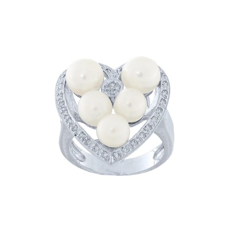 Δαχτυλίδι με μαργαριτάρια και διαμάντια σε λευκόχρυσο Κ18 - W314161