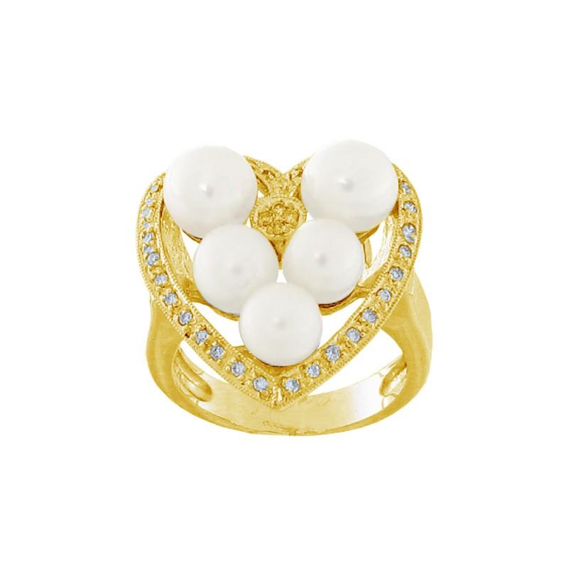 Δαχτυλίδι με μαργαριτάρια και διαμάντια σε χρυσό Κ18 - G314161