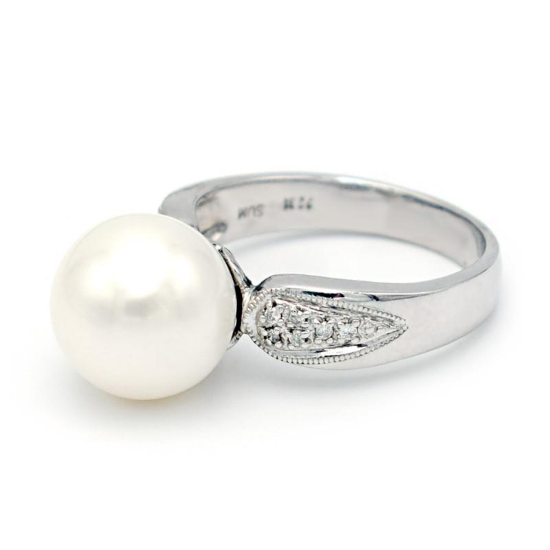 Δαχτυλίδι με μαργαριτάρι Akoya σε λευκόχρυσο Κ18 - M314240