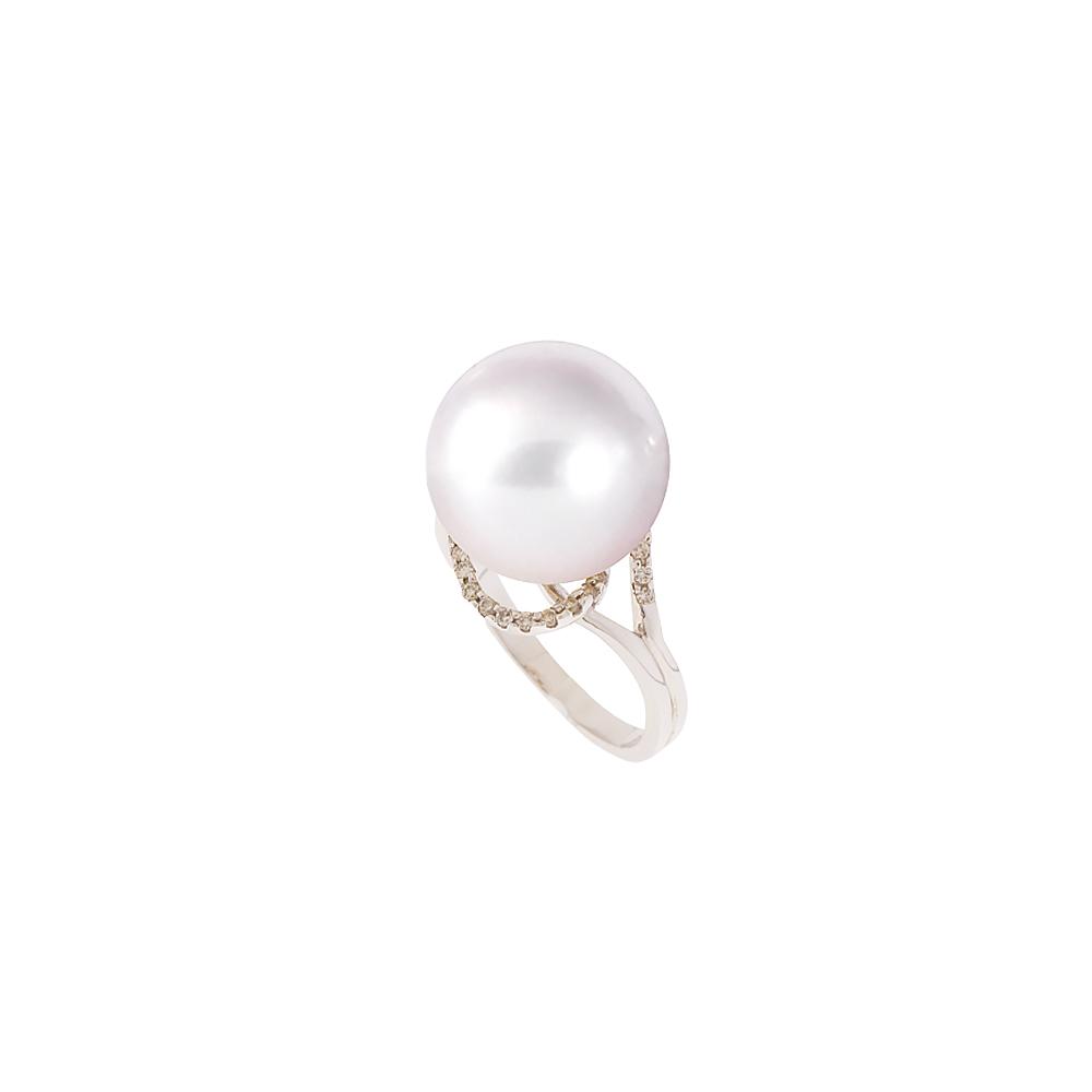 Δαχτυλίδι με μαργαριτάρι και διαμάντια σε λευκόχρυσο Κ18 - M314257 5d7cf81e166