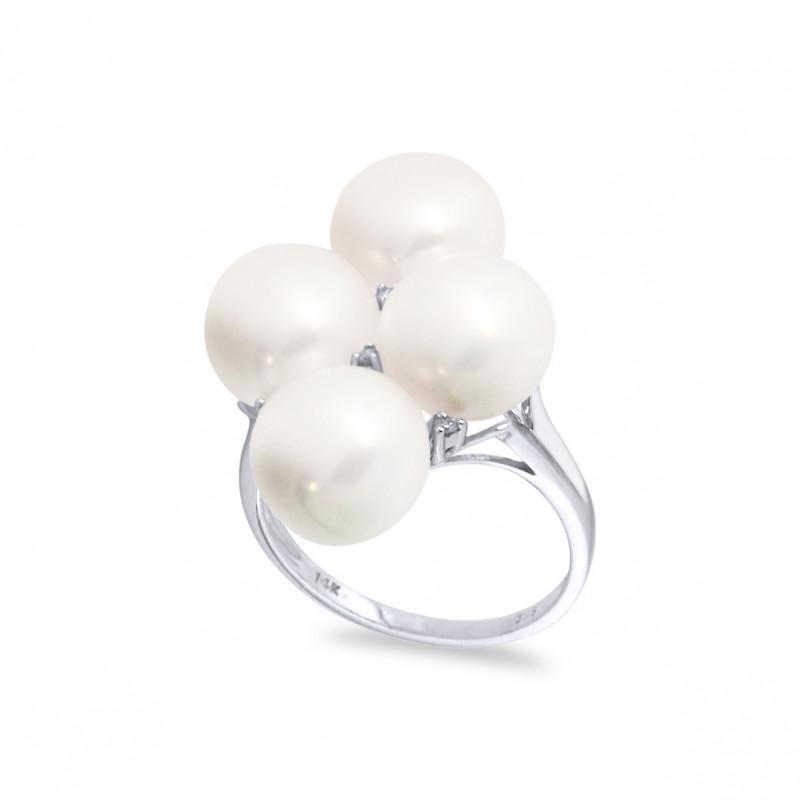 Δαχτυλίδι με μαργαριτάρια Fresh Water σε λευκόχρυσο Κ14 - W316946