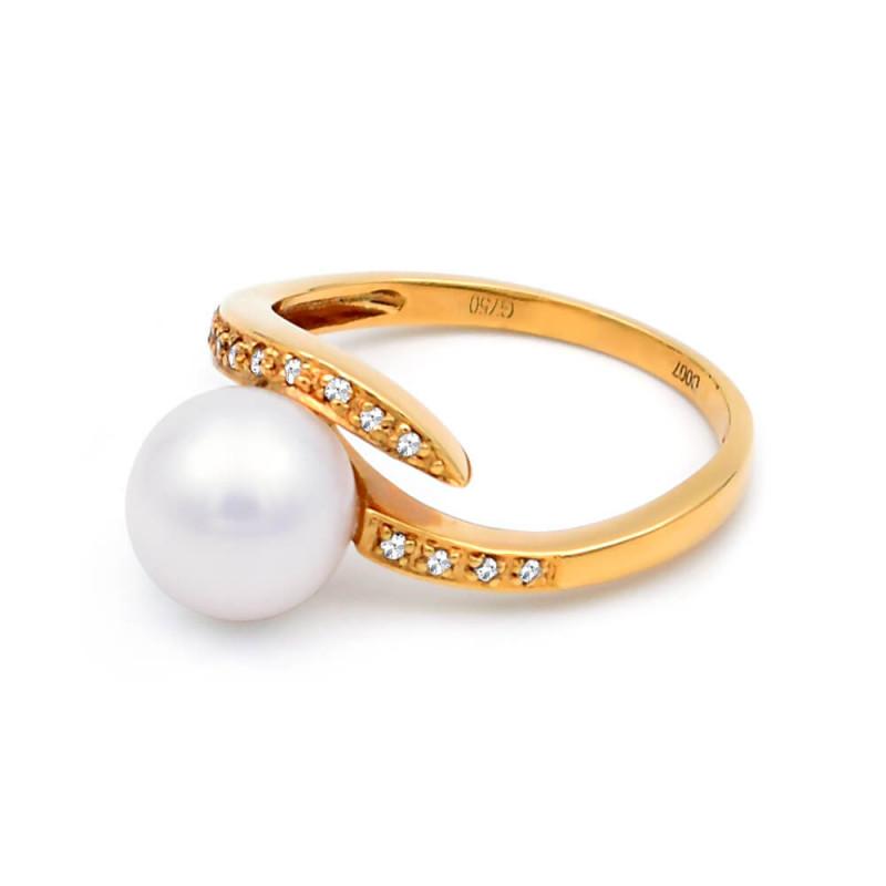 Δαχτυλίδι με μαργαριτάρι Akoya σε χρυσή βάση Κ18 - M317280