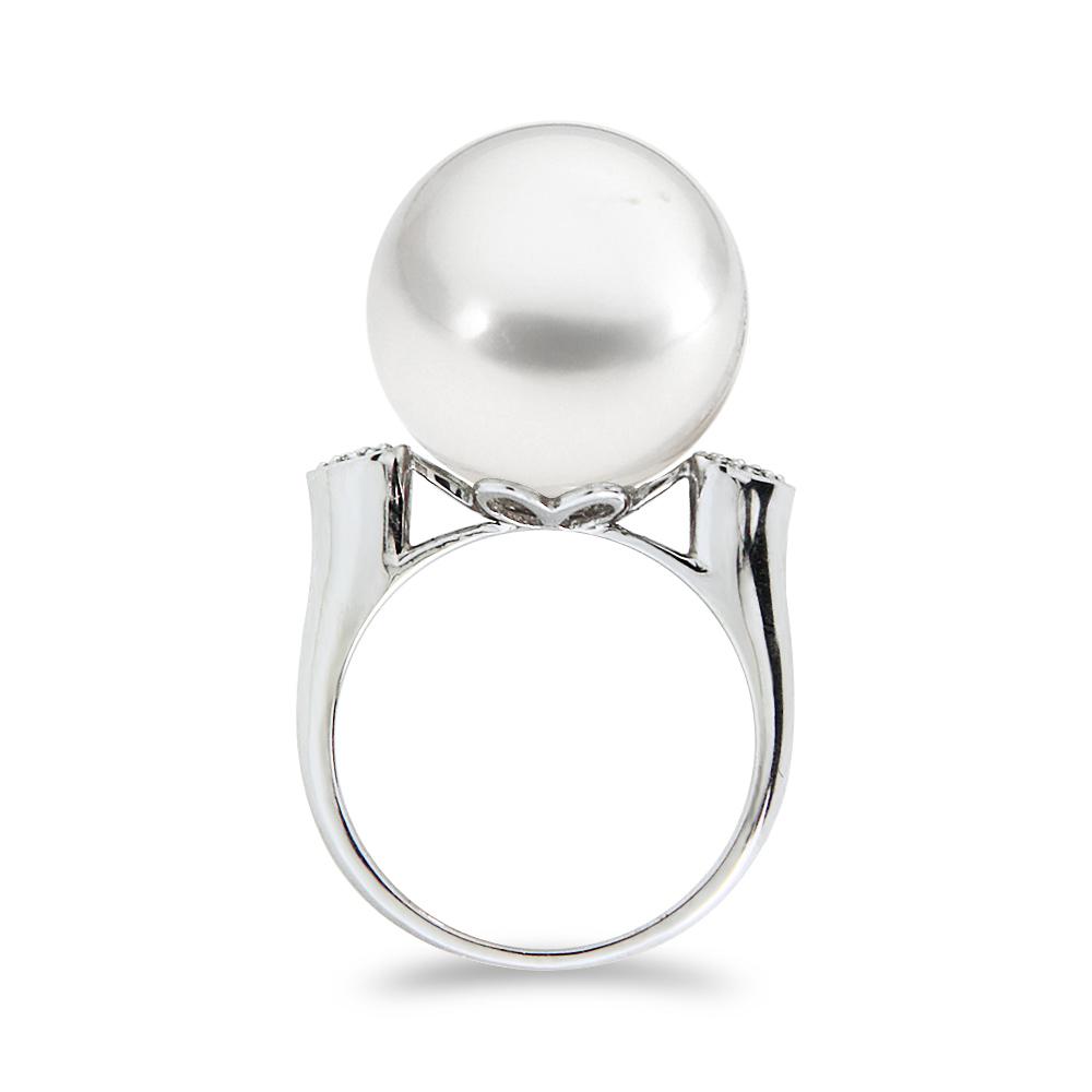 Δαχτυλίδι με μαργαριτάρι και διαμάντια σε λευκόχρυσο Κ18 - M319694 4b6d4589818