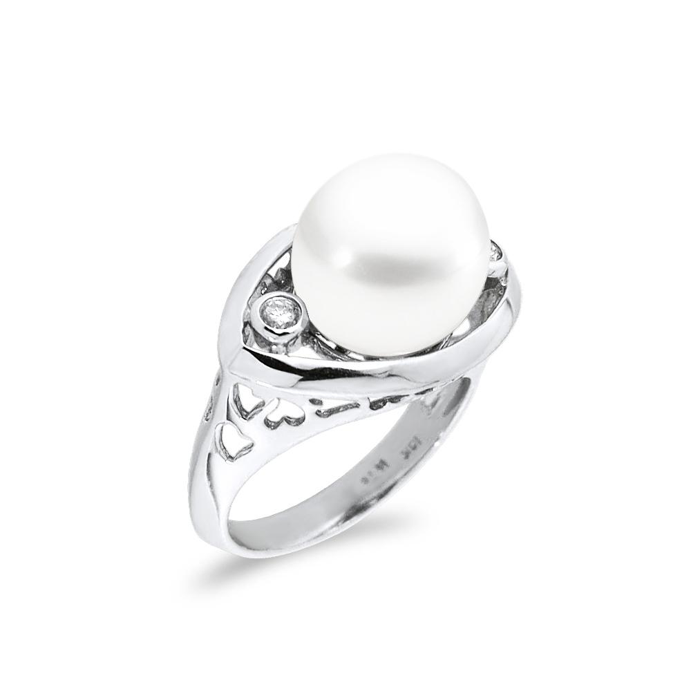 Δαχτυλίδι με μαργαριτάρι και διαμάντια σε λευκόχρυσο Κ18 - M306586 49af25cb345