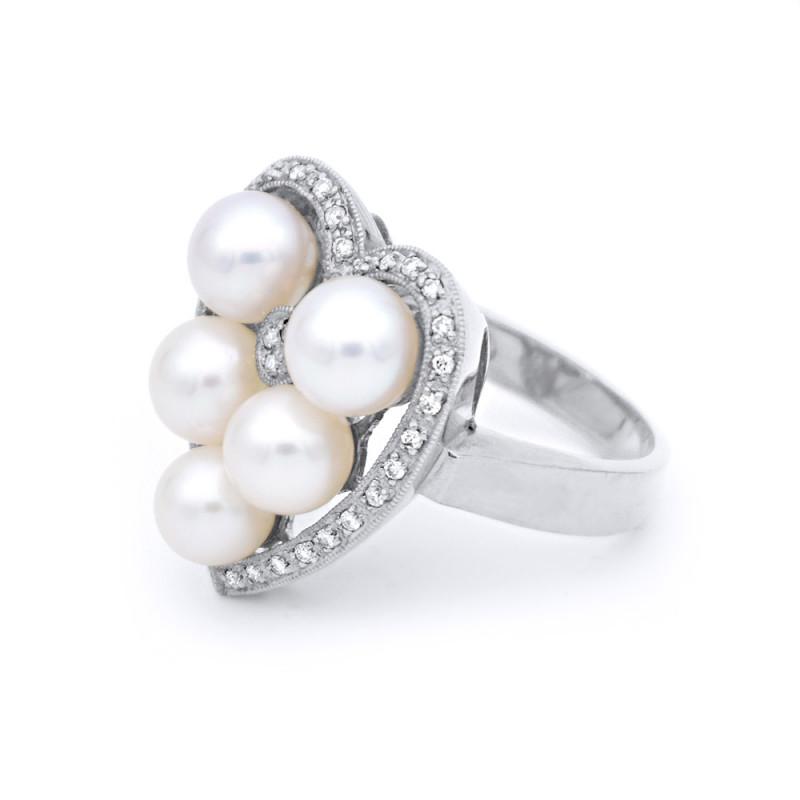 Δαχτυλίδι με μαργαριτάρια Akoya σε λευκόχρυσο Κ18 - W314161