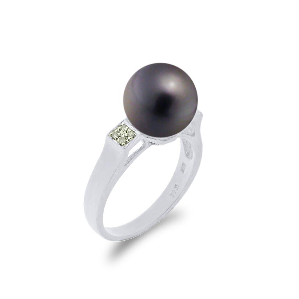 Δαχτυλίδι με μαύρο μαργαριτάρι και διαμάντια σε λευκόχρυσο Κ18 - W314242 173ffbfcb2f