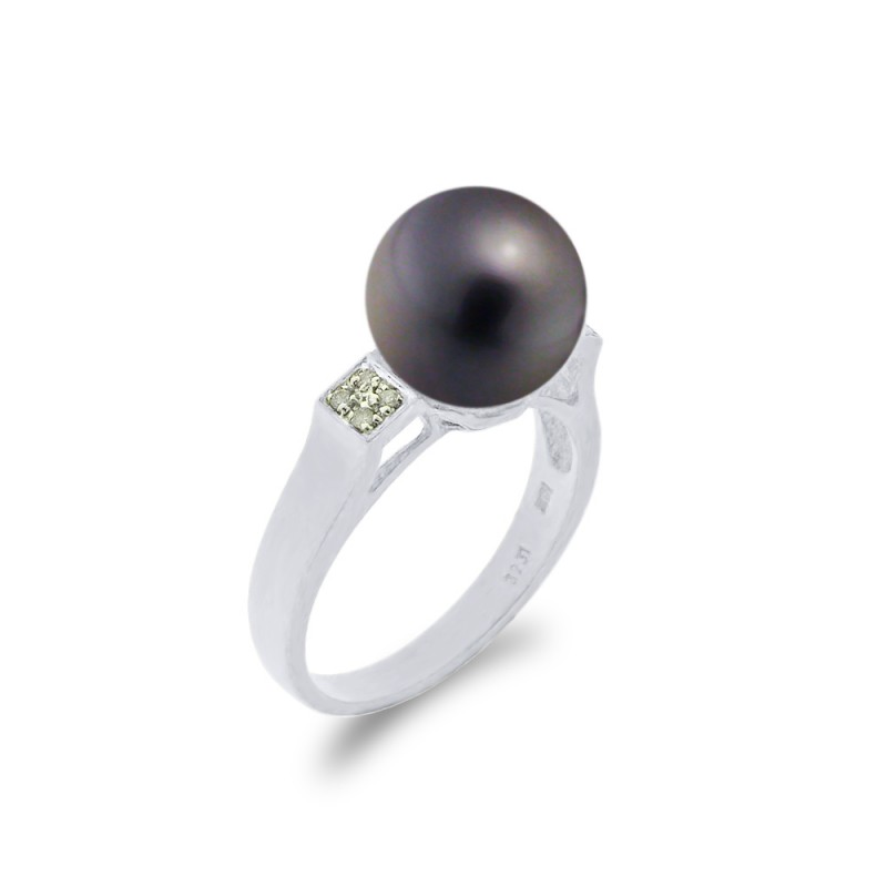 Δαχτυλίδι με μαργαριτάρι και διαμάντια σε λευκόχρυσο Κ18 - W314242