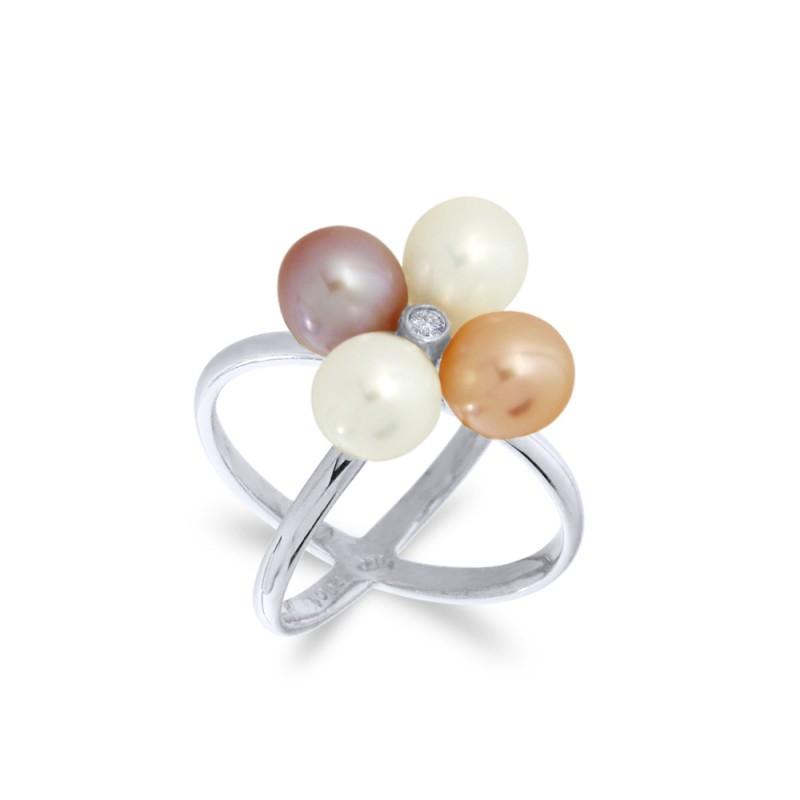Δαχτυλίδι με μαργαριτάρια και διαμάντι σε λευκόχρυσο Κ18 - W317262