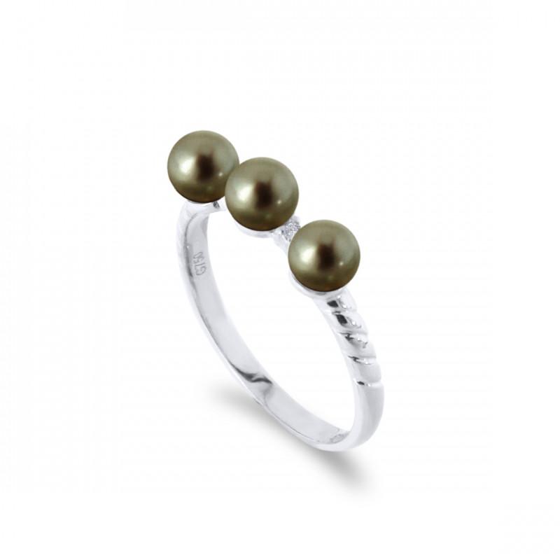 Δαχτυλίδι με μαργαριτάρια και διαμάντια σε λευκόχρυσο Κ18 - W317283B