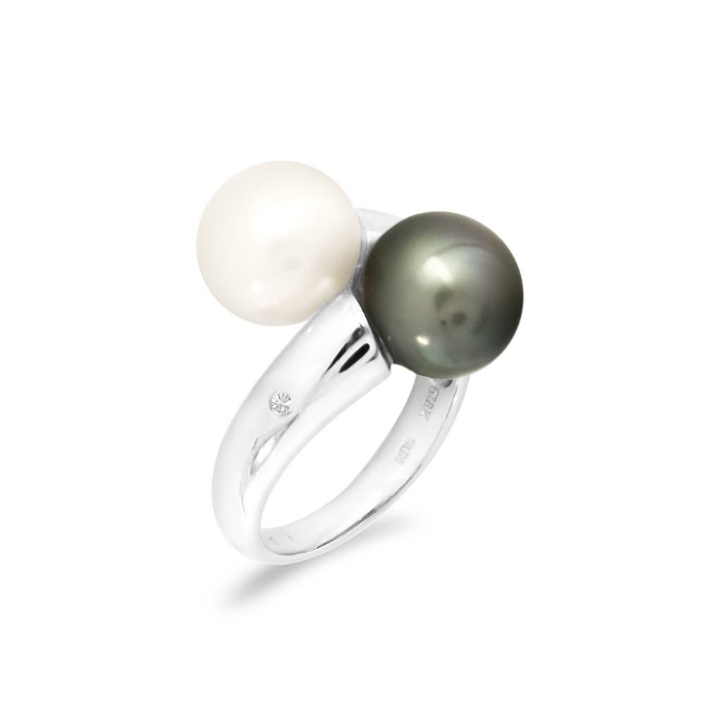 Δαχτυλίδι με μαργαριτάρια και διαμάντια σε λευκόχρυσο Κ18 - W318309 ae6c954ebae