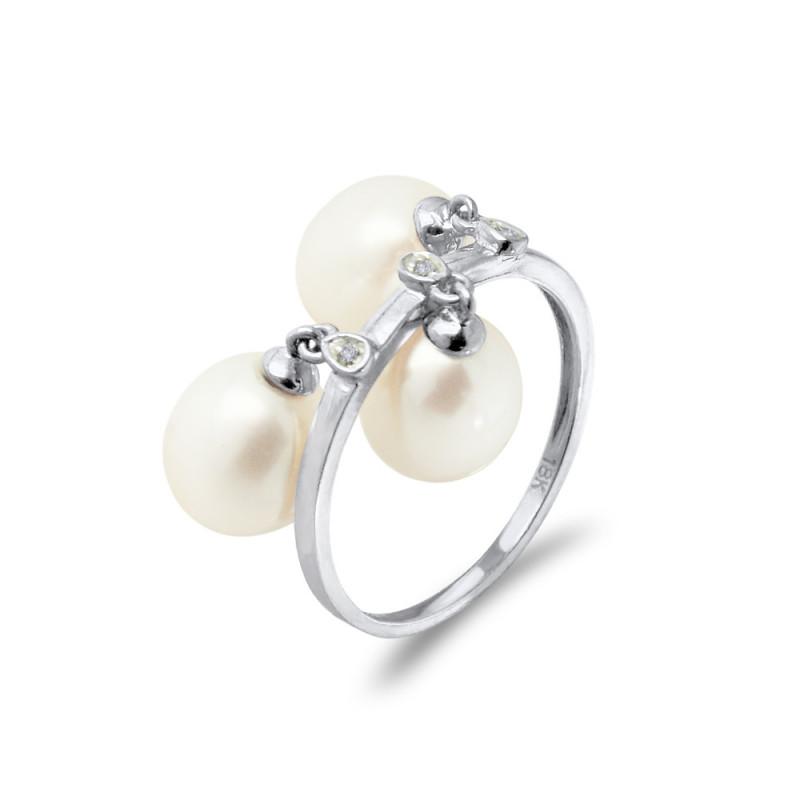 Δαχτυλίδι με μαργαριτάρια Fresh Water σε λευκόχρυσο Κ18 - W318441