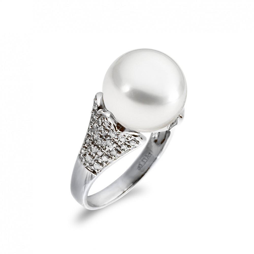 Δαχτυλίδι με μαργαριτάρι και διαμάντια σε λευκόχρυσο Κ18 - W319390 e4e84262bf9