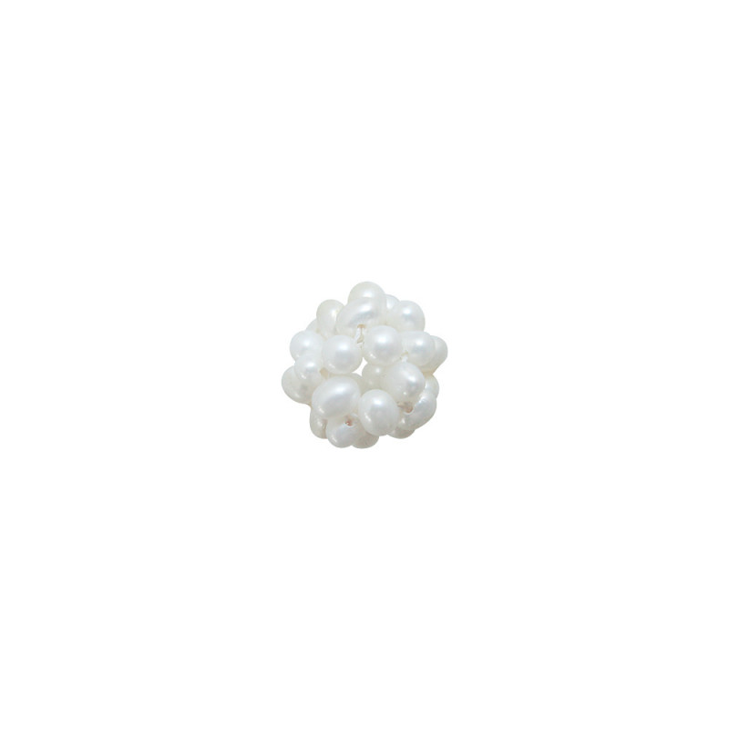 Καλαθάκι πλεκτό με λευκά μαργαριτάρια - M120891