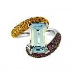 Δαχτυλίδι με Aquamarine, ζαφείρια και διαμάντια σε λευκόχρυσο Κ18 - M309461