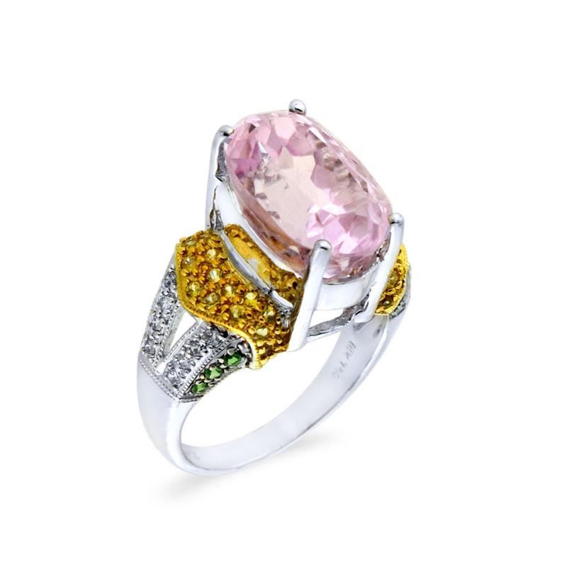 Δαχτυλίδι με Kunzite, ζαφείρια και διαμάντια σε λευκόχρυσο Κ18 - M309479