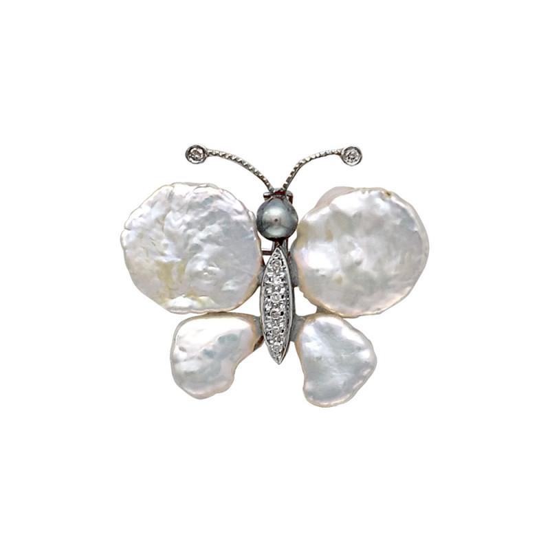 Καρφίτσα - μενταγιόν με μαργαριτάρια και διαμάντια - W319959