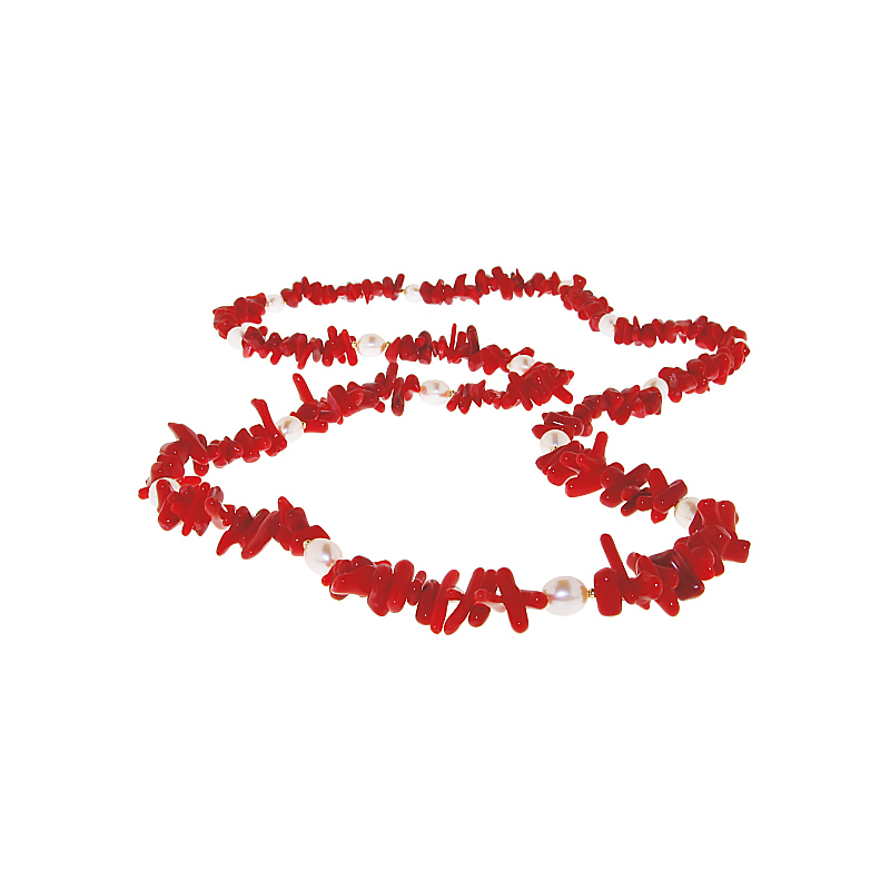 Κολιέ με κοράλλια, μαργαριτάρια 6,0  x 7,0mm και χρυσά στοιχεία K14 - M116262
