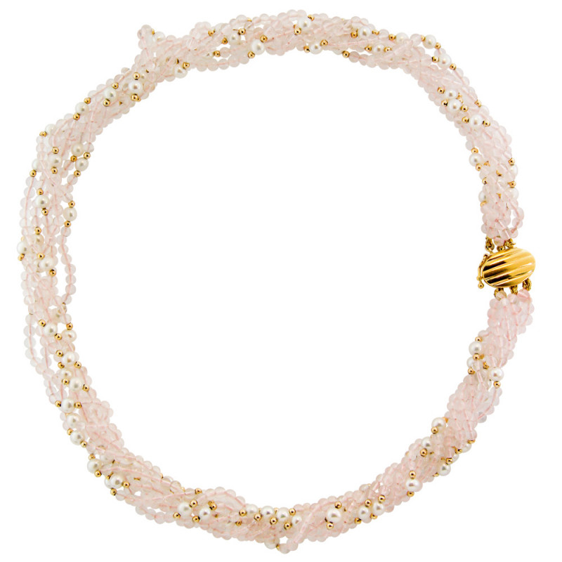 Κολιέ με Pink Quartz, μαργαριτάρια και χρυσά στοιχεία - M116274