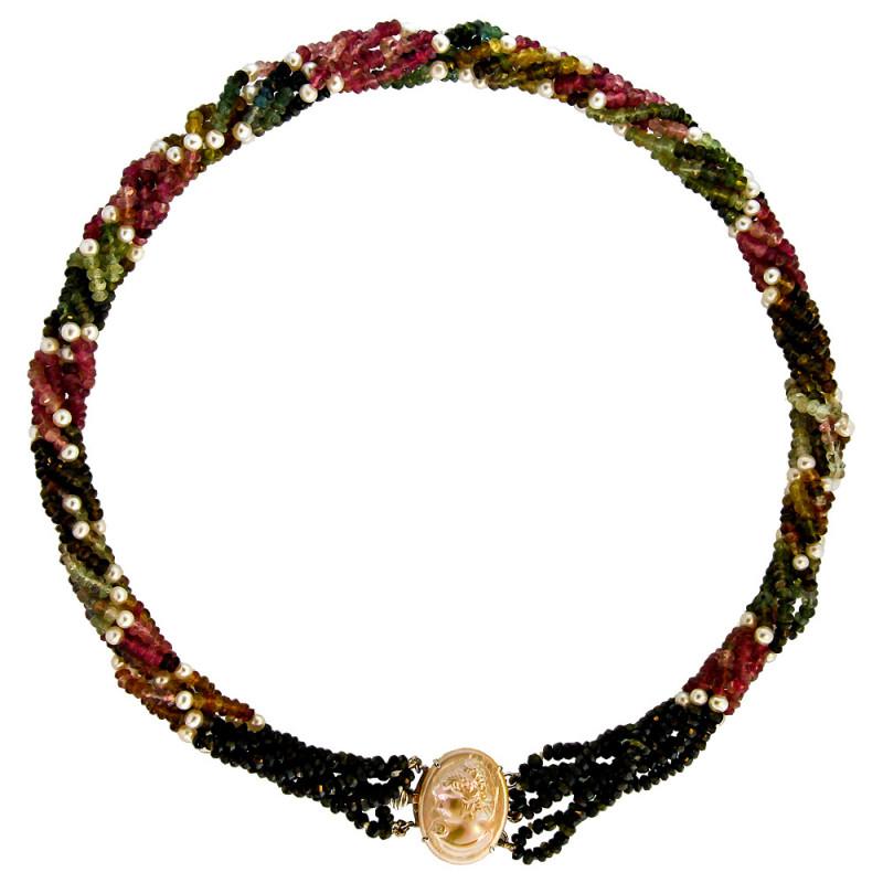Κολιέ με τουρμαλίνες, μαργαριτάρια και κούμπωμα Cameo Κ18 - M117665