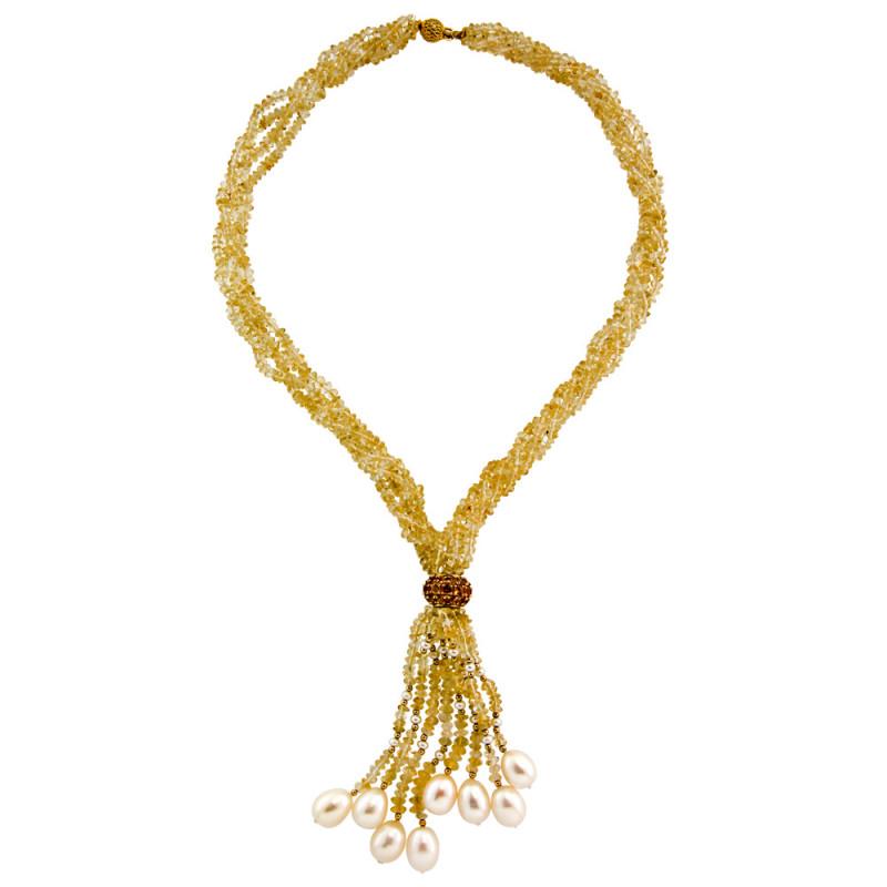 Κολιέ με Citrine, μαργαριτάρια και χρυσά στοιχεία K18 - M117864
