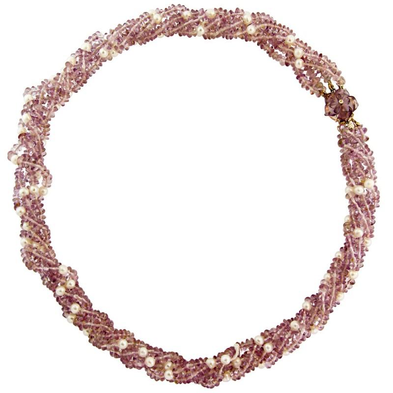 Κολιέ με αμέθυστο, μαργαριτάρια και χρυσό κούμπωμα Κ18 - M117932
