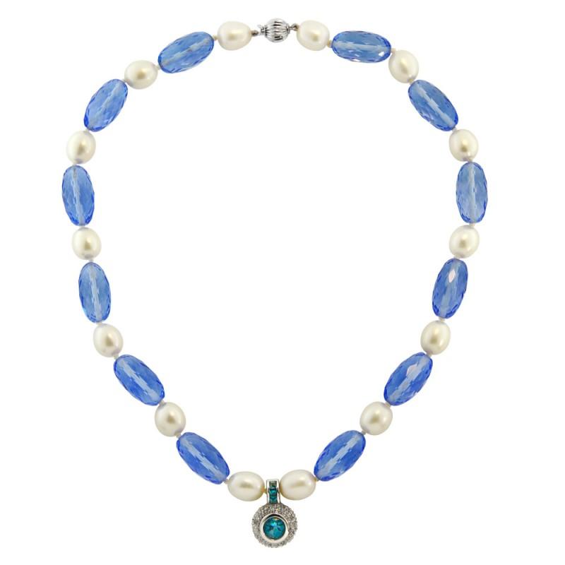 Κολιέ με Blue Topaz, μαργαριτάρια και λευκόχρυσα στοιχεία Κ18 - M117935