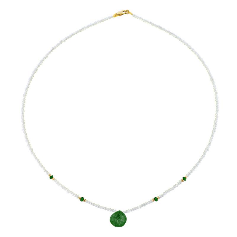 Κολιέ με λευκά μαργαριτάρια, σμαράγδια και χρυσά στοιχεία 14K - M122347E