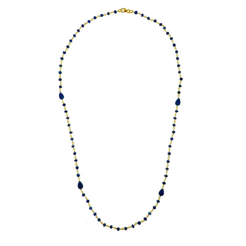 Κολιέ με ζαφείρια σε ασημένια αλυσίδα 925 - M122155