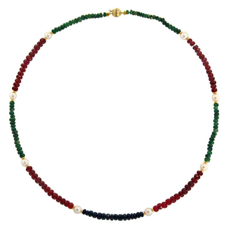Κολιέ με πολύτιμους λίθους, μαργαριτάρια και χρυσά στοιχεία K14 - M122179