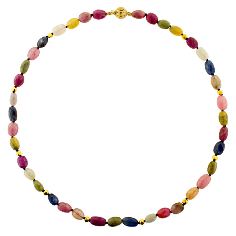 Κολιέ με πολύχρωμα ζαφείρια και χρυσά στοιχεία K18 - M122311