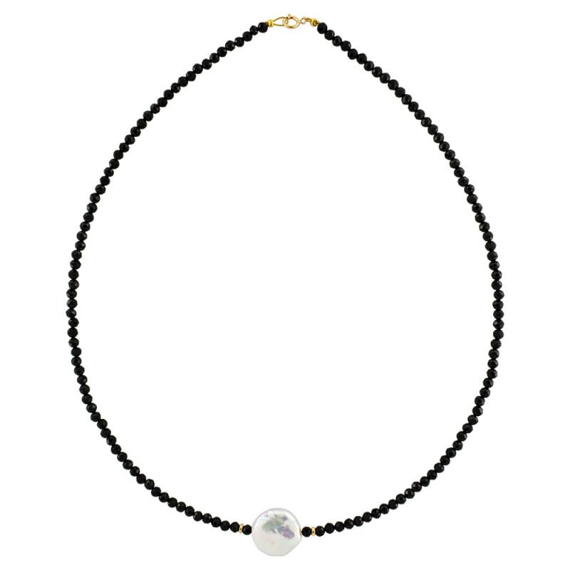 Κολιέ με spinel, μαργαριτάρι και χρυσά στοιχεία Κ14 - M122474S