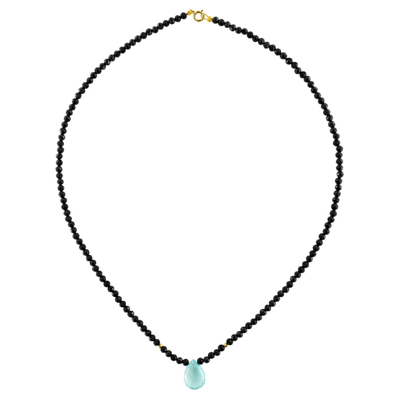 Κολιέ με Spinel, Aquamarine και χρυσά στοιχεία Κ14 - M122494