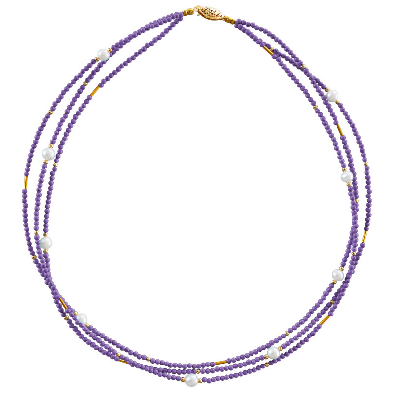 Κολιέ με αμέθυστο, μαργαριτάρια και χρυσά στοιχεία Κ22 - M122605AM