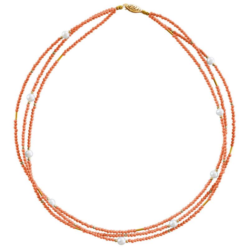 Κολιέ με ανοιχτόχρωμο κοράλλι, μαργαριτάρια και χρυσά στοιχεία Κ22 - M122605CA
