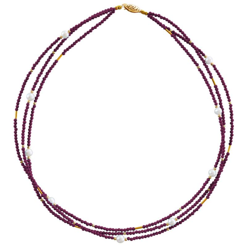 Κολιέ με γρανάδα, μαργαριτάρια και χρυσά στοιχεία Κ22 - M122605G