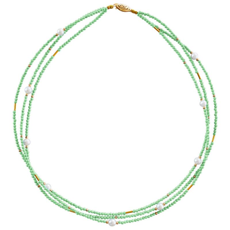Κολιέ με περίδοτο, μαργαριτάρια και χρυσά στοιχεία Κ22 - M122605P