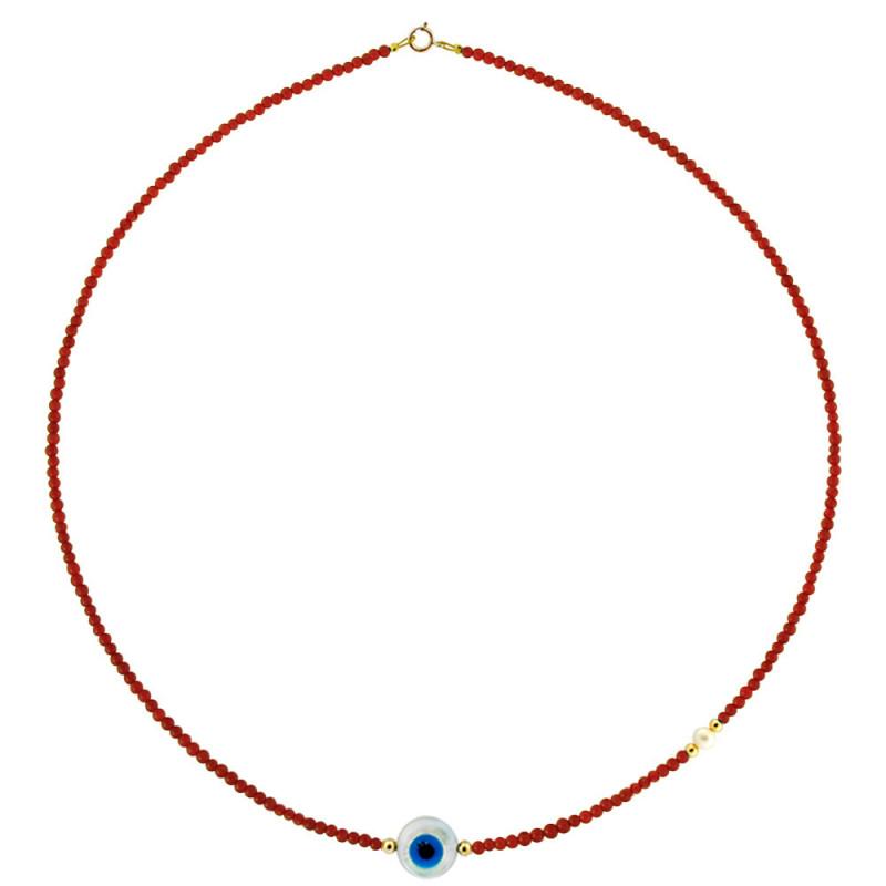 Κολιέ με κοράλλι, μαργαριτάρι και χρυσά στοιχεία Κ14 - M122847CE