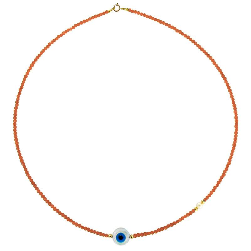 Κολιέ με ανοιχτόχρωμα κοράλλι, μαργαριτάρι και χρυσά στοιχεία Κ14 - M122847LCE